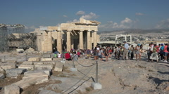 Athens Greece Acropolis Propylaea temple tourists HD 030 Stock Footage