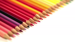 Color pencils, relocation with the small depth of sharpness - stock footage