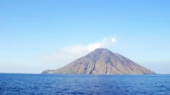 View from the sea of the Stromboli Volcano in Eolie island: Sicily, Italy Stock Footage