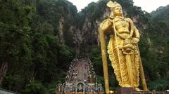 Entrance of Sacred Batu Caves, Kuala Lumpur, Malaysia Stock Footage