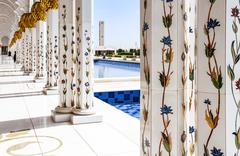 white mosque in abu dhabi - stock photo