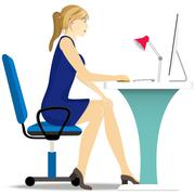 Beautiful girl works on a computer, sitting in a chair at the table. Stock Illustration