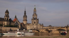 Spectacular Dresden City Skyline Historical Architecture Beautiful Morning Light Stock Footage