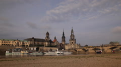 Rush Hour Commuters Commuting Dresden Skyline Old Town German Busy City Streets Stock Footage