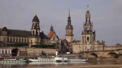 Cruise Ships Tour Boats Elbe River Dresden Cityscape Germany Tourists Attraction - stock footage
