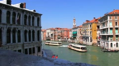 Stock Video Footage of View of the city  near Grand Canal  from Rialto Bridge. Venice