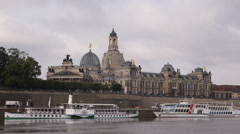 Front Facade Dresden Visual Fine Arts Academy German University Cruise Ships Day Stock Footage