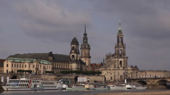 Stock Video Footage of Dresden Skyline Appeal Court Sekundogenitur Bruhl Terrace Old Town Promenade Day