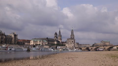 Panoramic Shot Pan Left Busy City Dresden Skyline Car Traffic People Commuting Stock Footage
