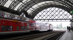 Local Train Departure Main Central Station Dresden German Railway Transportation Stock Footage