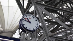 Clock DB German Railway Main Central Station Dresden Hauptbahnhof Historic Roof Stock Footage