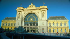 People are coming towards Keleti train station in Budapest.Time Lapse,4k - stock footage