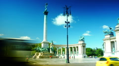 Street View of Budapest, Heroes Square, Andrassy Avenue, time lapse. Stock Footage