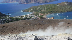 Volcanic island in Italy: Sicily, Messina Eolie islands, Lipari Stock Footage