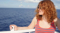 Young woman on ferryboat: mediterranean sea near Eolie islands: Sicily, Italy Stock Footage
