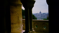 View of parliament of Budapest from Fisherman's Bastion in Budapest, Stock Footage