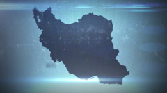 Iran - Grungy Hitech Map Outline Stock Footage