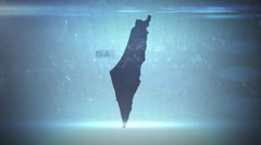Israel - Hitech Grunge Map Outline Stock Footage