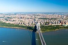 aerial view of george washington bridge, new york/new jersey - stock photo