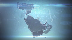 Middle East Grunge Map w/ Text Stock Footage