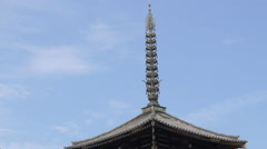 Pagoda and Gate at Horyu-ji Temple in Nara Prefecture, Japan Stock Footage