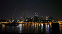 Stock Video Footage of St. Louis Skyline at Night