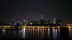 St. Louis Skyline at Night Stock Footage