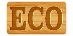 Nameplate of wood for menu with word ECO. Stock Illustration
