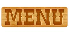Nameplate of wood with word MENU. - stock illustration