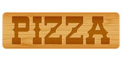 Nameplate of wood for menu with word pizza. Stock Illustration