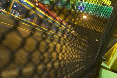 Night Photo of Cars Streaking Down City Highway Bridge Stock Photos