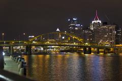 Scenic Night Photo of Pittsburgh, Pennsylvania Skyline and River - stock photo