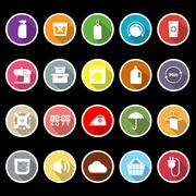 Laundry flat icons with long shadow Stock Illustration
