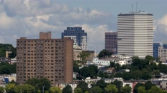 Panning Shot Of South Boston Skyline Seen From The U of M Stock Footage