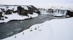 Time lapse, Godafoss waterfall in Winter, Iceland Stock Footage