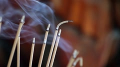 Incense smoke in budha temple Stock Footage