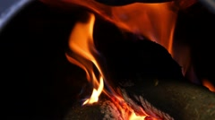 Burning Fire Firewood And Coal In Stove 4k Stock Footage