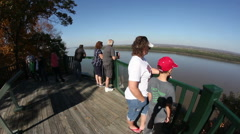 Scenic overlook of Mississippi River at Trail of Tears state park - stock footage
