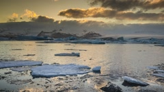 Time lapse of blue icebergs floating in Jokulsarlon glacial lagoon, Iceland Stock Footage