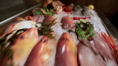 A quick view of the fish market Stock Footage
