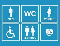 Vector restroom icons,men,women, lady, man, baby dummy Stock Illustration
