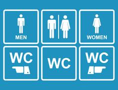 Male and female WC icon denoting toilet , restroom facilities - stock illustration