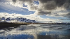 Timelapse of black sandy beach in Iceland Stock Footage