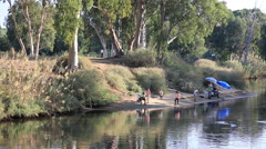 People fishing river yarkon . Tel Aviv. Israel Stock Footage