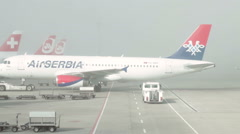 AirSerbia aircraft at Zurich Airport Stock Footage