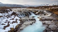 Timelapse of Bruarfoss waterfall in Iceland Stock Footage