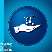 Hand holding the atom, molecule.  symbol icon of physics or chemistry . the s Stock Illustration