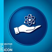 hand holding the atom, molecule. symbol icon of physics or chemistry . the st - stock illustration