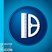 ruler and protractor. characters geometry. education sign. symbol icon drawin - stock illustration