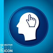 Vector icon head think silhoutte vector man and his mind about mouse hand cur Stock Illustration